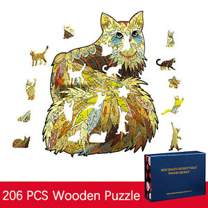 Wooden Puzzle Unique Shape Pieces Animal Gift for Adults and Kids 206 Pieces