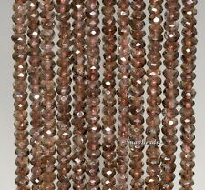"""4X3MM  SMOKY QUARTZ GEMSTONE FACETED RONDELLE 4X3MM LOOSE BEADS 15.5"""""""