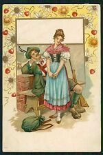 Art Nouveau Huning Man Love Country Romance original old 1900s postcard