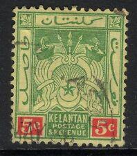 MALAYA KELANTAN SG18 1922 5c GREEN & RED/PALE YELLOW FINE USED