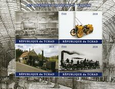 Chad 2018 MNH First Steam Engines Locomotives 4v M/S Trains Rail Stamps