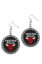 Chicago Bulls Basketball earrings dangling silver plated hooks