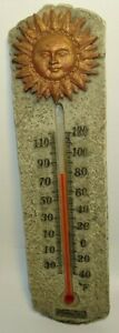 """SPRINGFIELD 7.7"""" POLY RESIN TEMPERATURE THERMOMETER FAHRENHEIT WITH GOLD SUN"""