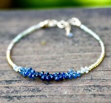 Natural Green and Blue Sapphire Bracelet in Solid 14K Gold 5th 45th Anniversary