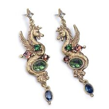 NEW SWEET ROMANCE GRIFFIN DRAGON CRYSTAL PIERCED EARRINGS  ~~MADE IN THE USA ~~