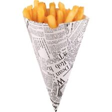 Disposable Newspaper Print Paper Chip Cones (Pack of 1000)