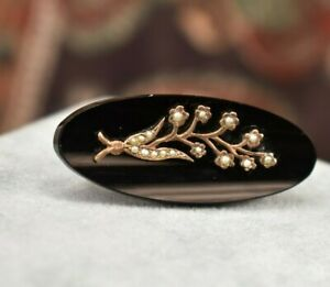 Antique Victorian 10K rose gold seed pearl black onyx mourning brooch