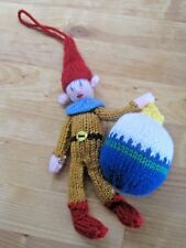 HAND KNITTED TRADITIONAL XMAS ELF TREE DECORATION? 9 INCHES TALL