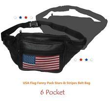 USA Flag Fanny Pack Stars & Stripes Genuine Leather Belt Travel Purse Waist Bag