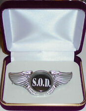S.O.D. Anarchy Death Heavy Metal Band Wing Live Concert Hat Jacket Badge Pin 666