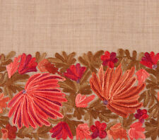 Large Crewel Embroidered Shawl Beige Wool with Red & Tan Kashmir Embroidery