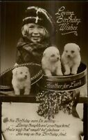 Heather For Luck - Sweet Little Girl & Puppy Dogs Birthday Real Photo Postcard