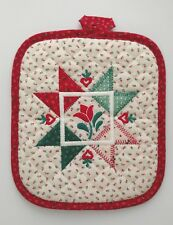 Vintage Christmas Winter Holiday Country Hearts Pot Holder - Excellent Condition