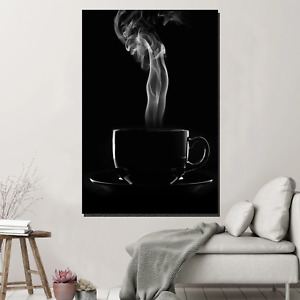 Black Cup of Coffee Cafe and Coffee Canvas Art Print for Wall Decor