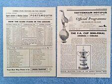 1952 - Fa Cup Semi Final Programme + Insert - Arsenal v Chelsea