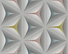 3d Geometric 1970s LOOK Grey Teal Olive Retro Flower Feature Wallpaper 96042-2