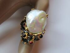 21X18 MM ALL NATURAL BAROQUE PEARL RING 925 2-TONE STERLING SILVER SZ/8.75