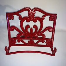Vintage Cast Iron Kitchen Cookbook Stand Metal Recipe Ipad Holder Red Heavy