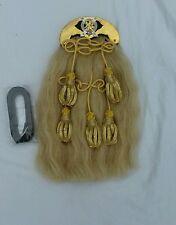 Long Horse Hair Sporran With Brass Cantle 6 Tessels Metal Badge Rampert Lion Bag
