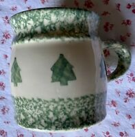 Workshops of Gerald E. Henn Pottery Christmas Tree Pine Green Spongeware Mug USA
