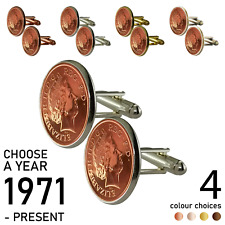 1p ONE PENCE PENNY COIN CUFFLINK / CHOOSE YOUR YEAR 1971 TO PRESENT