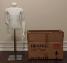 BERNSTEIN Kids 1/2 Mannequin  Boy Size 6 Fiberglass Gloss White w Square Base