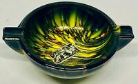 Vintage MCM Venetian Weil Murano Italy Glass Ashtray - Yellow Brown Black