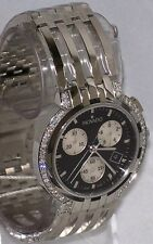 New Men's Movado Esperanza Black Chronograph 0605765 0.70ct Aprx.Diamond Watch