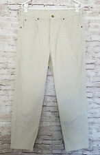 Mens LL Bean Cream Corduroy Cotton Poly Flat Front Casual Pants Size 34 X 30