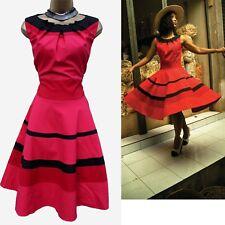 Karen Millen Red Cotton Colourblock Full Skirt Party Cocktail Skater Dress 8 UK