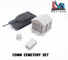 3D Printed – 15mm (1:100) Scale Cemetery Graveyard Set (Mausoleum, Grave & Tomb)