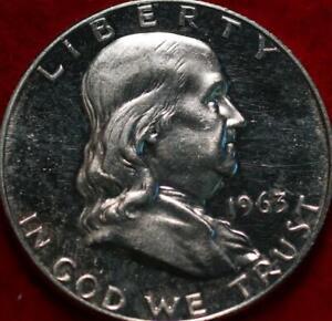 Uncirculated Proof 1963 Philadelphia Mint Silver Franklin Half