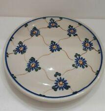"Handmade Polish Pottery Dessert Plate Blue Flowers 6.25"""