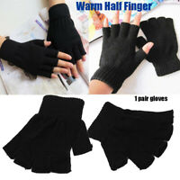 chaud les doigts des gants en boîte la moitié de doigt chaud gants noirs