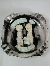 Vtg Ceramic Art Novelty OLD MAN WOMAN Gag Gift Risque Boy Girl Ashtray