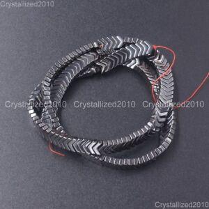 "Natural Hematite Gemstone V Shape Arrowheaded Spacer Beads Metallic Matte 16"""