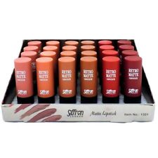Saffron Set of 6 Retro Matte Lipstick Make-up Cosmetics 1301 Tray a