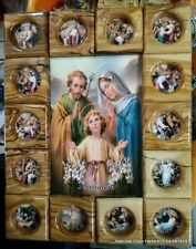 OLIVE WOOD hand made Holy family 14 stations of the cross wall decor plaque