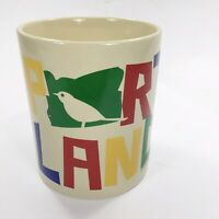 Vintage Portland Souvenir Rainbow Text Off White Coffee Mug Cup Ceramic Pottery