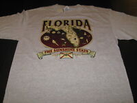 FLORIDA Detailed Informational Map THE SUNSHINE STATE Gray T-Shirt New NWT LARGE