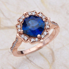 2.32ctw Cushion Cut Blue Sapphire Halo Engagement Ring in 14K Rose Gold