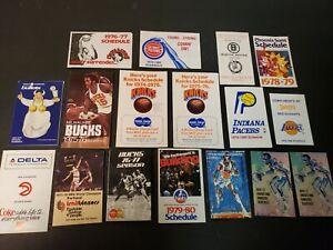 Lot of (17) 1970s NBA Basketball Pocket Schedules vintage