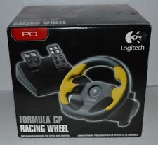 New In Box Logitech WingMan Formula GP Racing Wheel PC - USB Yellow W/ Pedals