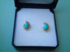 GOLD EARRINGS K14 WITH TURQUOISE(STUD)