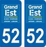 2 Stickers style immatriculation auto Département Grand-EST 52
