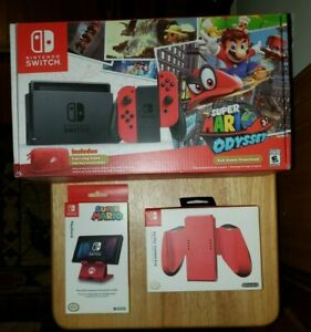 Nintendo Switch Super Mario Odyssey Game Edition Red Console & Joy-Cons + Extras