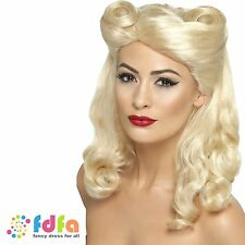 1940s long blond curly victory rolls pin up perruque-femmes costume robe fantaisie