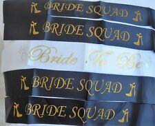 10 x BLACK &GOLD GLITTER BRIDE SQUAD SASH + 1 x White Bride to be Sash:Hen Party