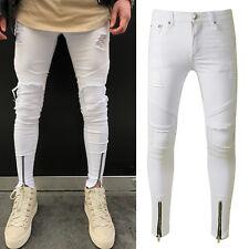 Men's Skinny Slim Fit Denim Pants Ripped Destroyed Jeans Zipper Design Trousers