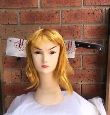 HALLOWEEN Fake Cleaver Through Head Horror Scary Headband Zombie Bloody Knife